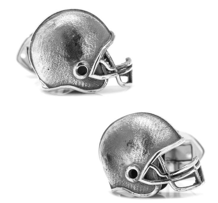 Sterling Silver Football Helmet Cufflinks BY OX & BULL TRADING CO.