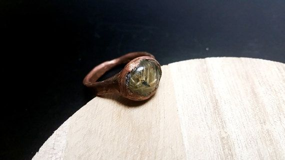 Rutilated Quartz Ring Copper Ring with Rutilated by mssdelilah
