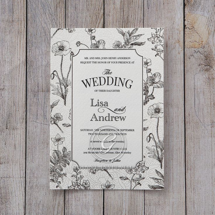 sample wedding invitation letter for uk visa%0A Silver Gray Foil Stamped Vintage Floral Patterns  Wedding invitation