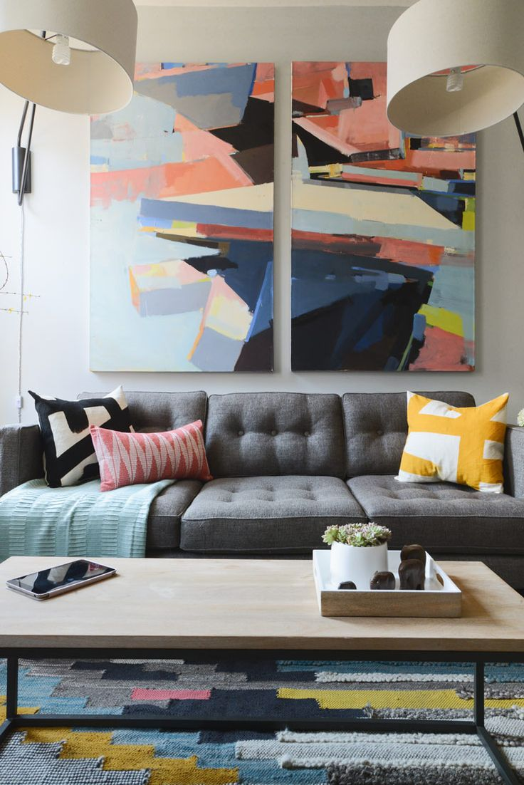 Justin's Revamped NYC Living Room | west elm | Find more colorful paintings at Saatchi Art: http://www.saatchiart.com/all?query=colorful