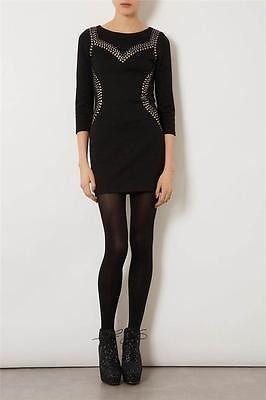 New TOPSHOP Black Gem Pattern Embellished Bodycon Dress SIZE UK10/EUR38/US6