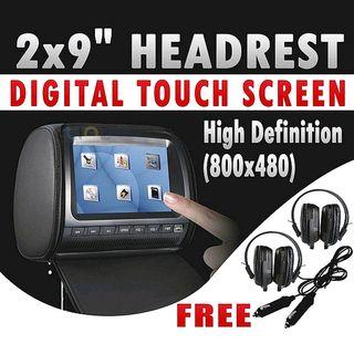 """Headrest 2 X 9"""" HD Touch Screen Car Monitor Pillow 2 DVD Player GAME HEADPHONES"""