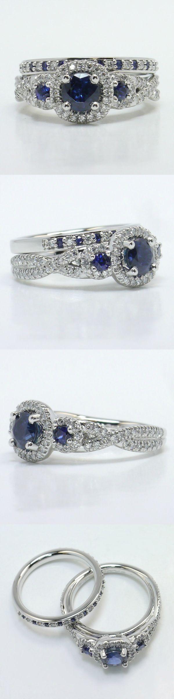 Diamond and Sapphire Gemstone Bridal Set! Round 1 Ctw. Color: Blue Sapphire Diamond/Gem Cost: $1,475 Custom Diamond and Gemstone Bridal Set Metal: 950 Platinum Side Shape: Round Side Carat: .82 Side Color: G-H Side Clarity: VS2 Side Cut: Ideal Setting Cost: $3,895 Total Cost: $5,370 www.brilliance.com