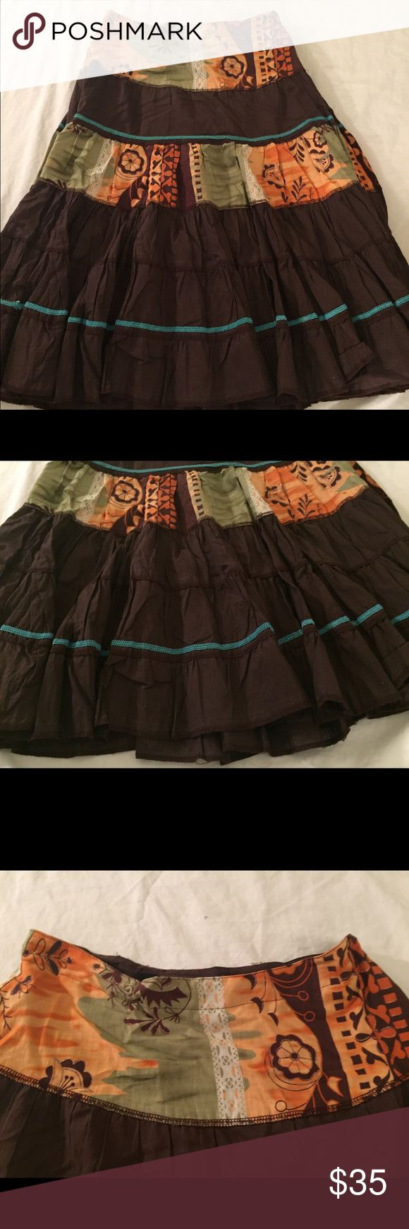 BOHO CHIC GORGEOUS BOUTIQUE SKIRT This is a gorgeous BOHO CHIC STYLE Skirt looks so nice with a tank top and wedges or sandals and boots This is a great quality skirt my loss your gain don't miss out Free People Skirts A-Line or Full
