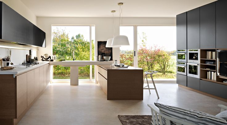 Kitchen Square Modern Stainless Steel Build Oven With Brown Minimalist Veneer Kitchen Island Also Semi Circle White Glass Chandelier And Black Laminate Poly Vinyl Carbonate Drawer Wall Besides Grey Contemporary Wooden Cabinet   Elegant Brown Esotika Kitchen Island by Pedini