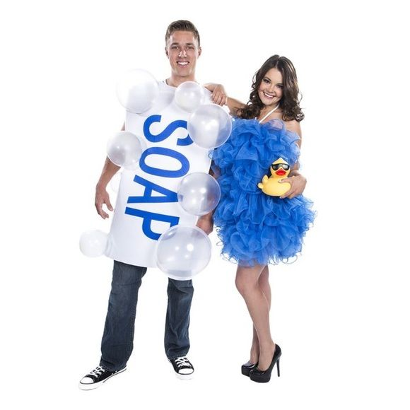 Soap & Loofa Couples Costume Super cute couples Halloween costume from Spirit! Loofa costume has been worn once, soap costume has never been worn. Comes with soap costume, loofa dress, 10 balloons to make soap bubbles, and 10 adhesive squares to attach balloons! Perfect for a theme party  Other