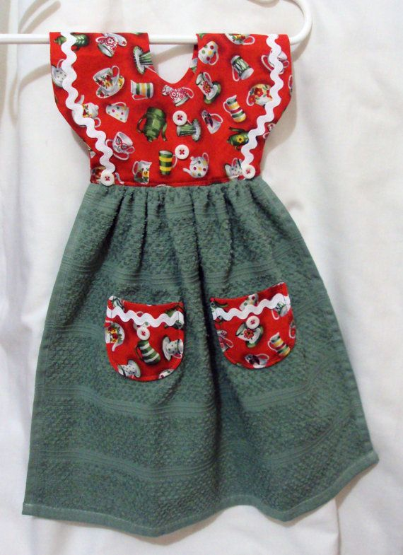 Hanging Dress Kitchen  towel with teacup design red and green  hangs on stove or dishwasher bar handle