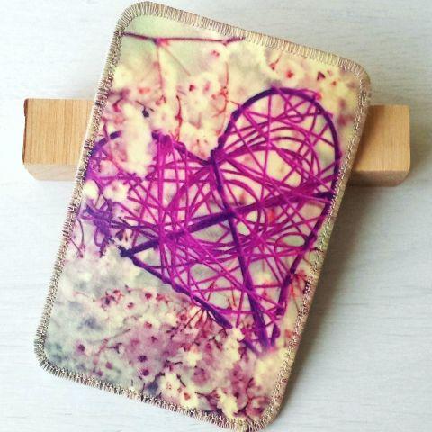 Lila szív tavasszal mintájú mobiltok, Jankart, meska.hu #valentin #heart #cellphone #case #spring