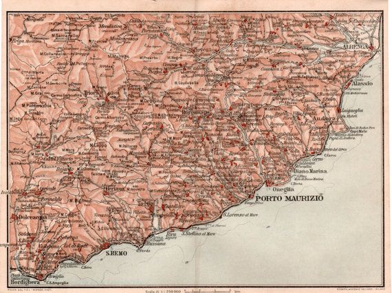 1916 Imperia Italy Antique Map Vintage Lithograph by Craftissimo