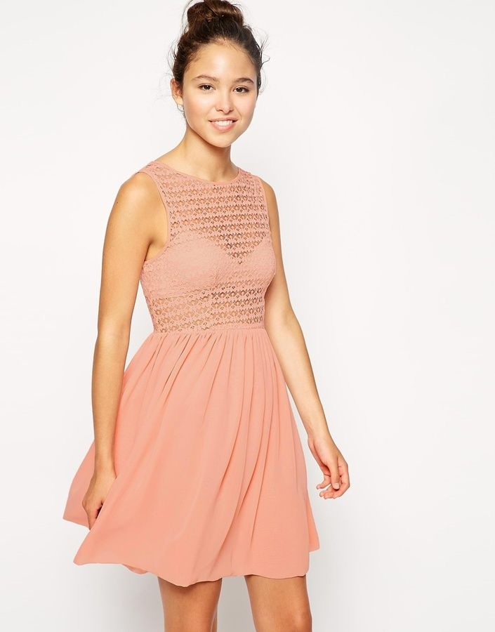 $39, Pink Chiffon Party Dress: American Apparel Sleeveless Lace Chiffon Dress. Sold by Asos. Click for more info: https://lookastic.com/women/shop_items/228678/redirect