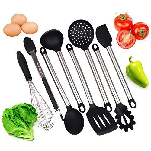 Kitchen Utensils set- 8 Piece Cooking Utensils - Nonstick Utensil Set - Silicone and Stainless Steel Kit - For Pots and Pans - Serving Tongs, Spoon, Spatula Tools, Pasta Server, Ladle, Strainer, Whisk