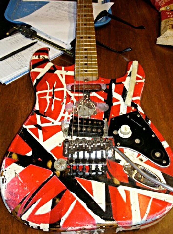Frankenstrat guitar of Van Halen The guitar was made by the burned body of Fender Stratocaster & Gibson  pickups also the design was made from tapes