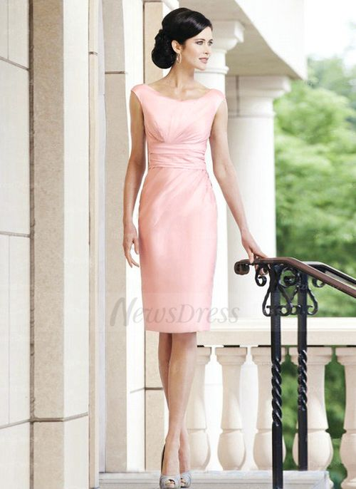 Sheath/Column Scoop Neck Knee-Length Ruffle Taffeta Zipper Up Cap Straps Sleeveless Yes 2015 Pearl Pink Spring Summer Fall General Mother of the Bride Dress
