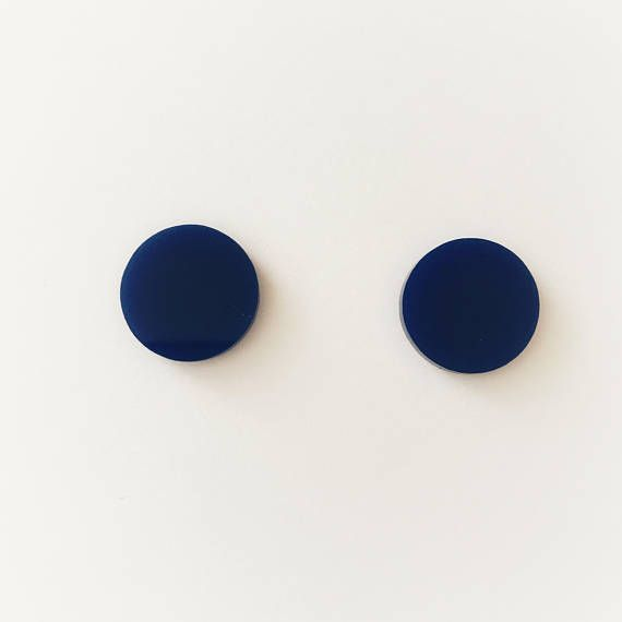 20mm Navy Blue Round Stud Earrings