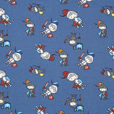 Jersey Petit chevalier 2 - Coton - Élasthanne - bleu jean