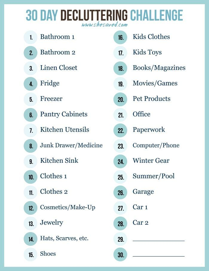print out my free 30 day decluttering challenge printable