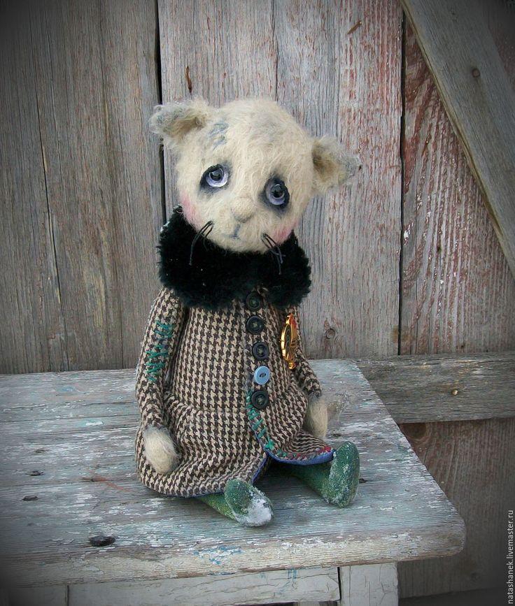 Купить Лёка. Teddy bear and friends/ Teddy kitten - бежевый, кошка, винтажный стиль
