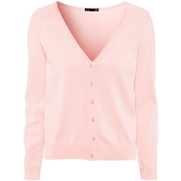 H&M Cardigan ($13) ❤ liked on Polyvore featuring tops, cardigans, sweaters, light pink, v-neck cardigan, pink v neck cardigan, long sleeve cotton tops, h&m cardigan and long sleeve tops