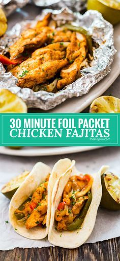 These 30 Minute Foil Packet Chicken Fajitas are a quick and easy dinner for the grill or for the oven! This healthy recipe can be prepped ahead making it a great option for weeknight meals or easy entertaining! ad @SimplyOrganicFoods
