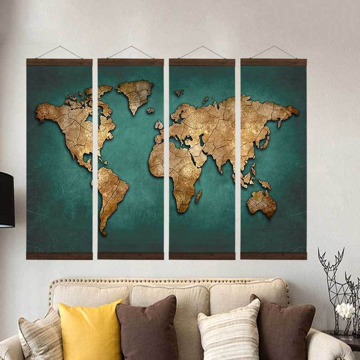 Green Geography World Map Canvas Painting 21