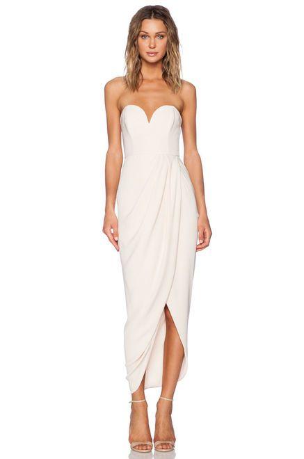 Shona Joy Bustier Draped Maxi Dress in Nude | REVOLVE