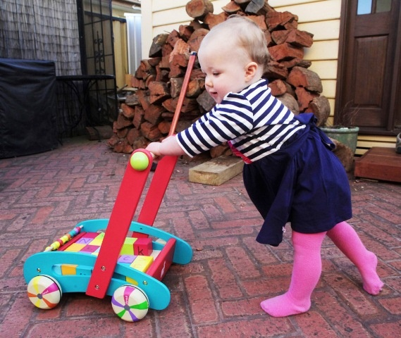 Little Elodie Sexton loves her ABC Walker from Janod – a present from her great grandmother. We love her gorgeous pink tights!