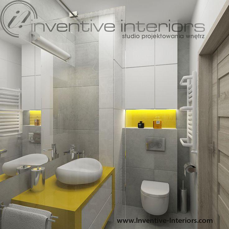 Projekt łazienki Inventive Interiors - biało szara łazienka z żółtym akcentem