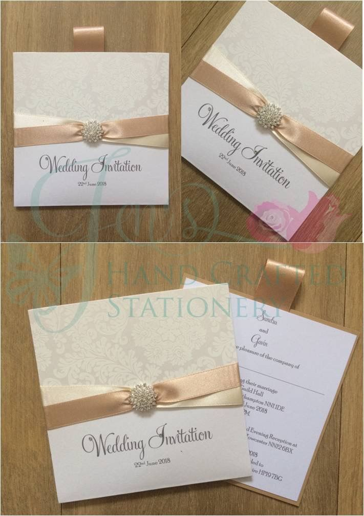 Decorative top wallet invitation in white damask