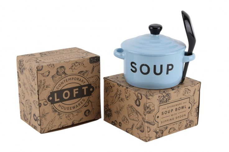 Light Blue Soup Bowl and Spoon - Wonder Stuff