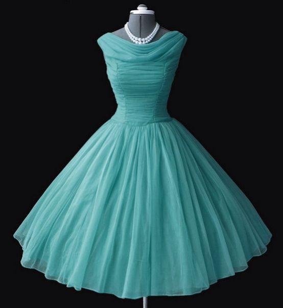 Vintage turquoise chiffon 50s dress