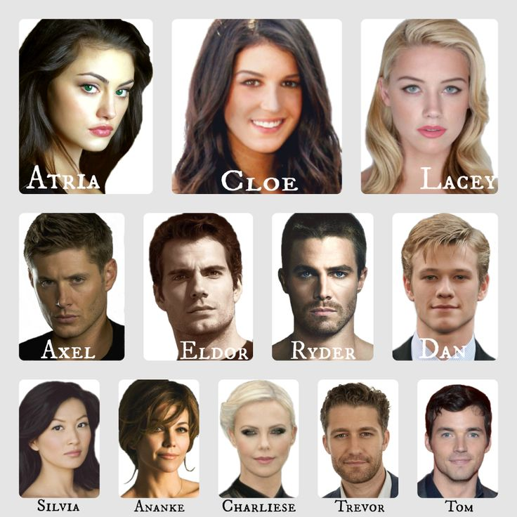 THE CAST!! Though these actors aren't completely perfect for their roles, these particular pictures are virtually spot on :)  To see the cast list, check out the series on #wattpad! http://www.wattpad.com/story/14913477-the-fates