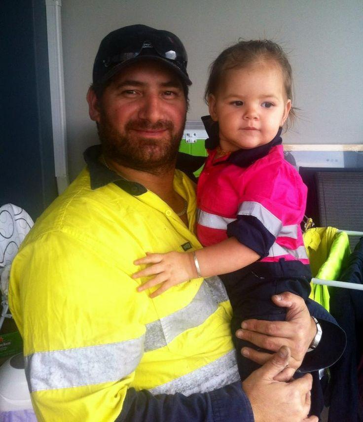 Happy FIFO Worker comes home to his FIFO daughter in her new onesie hi viz onesie