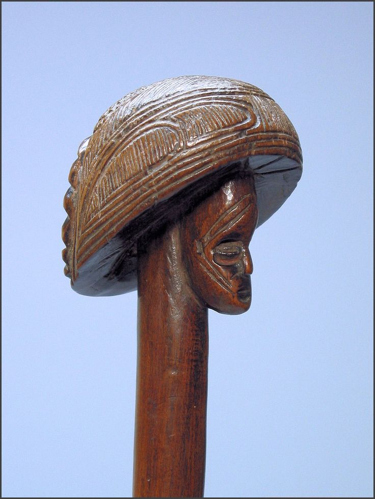 """Chokwe_staff_wood, pigment 25"""" tall late 19th/early 20th century ex private collection, Portugal ex Christie's Paris ex Owen Hargreaves and Jasmine Dahl, London"""
