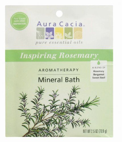 Aura Cacia Inspiring Rosemary Bath Packet, 2.5-Ounce packet, (Pack of 3) by Aura Cacia. $8.97. You emerge from the tub refreshed and velvety-smooth.. The result is a natural formula that lifts away old, dead cells, then softens and soothes while filling your senses with a new awareness.. Unique blends of essential oils offer specific body, mind and spiritual benefits, helping you achieve a renewed sense of balance and well-being.. Aura Cacia blends mineral-rich ocean ...