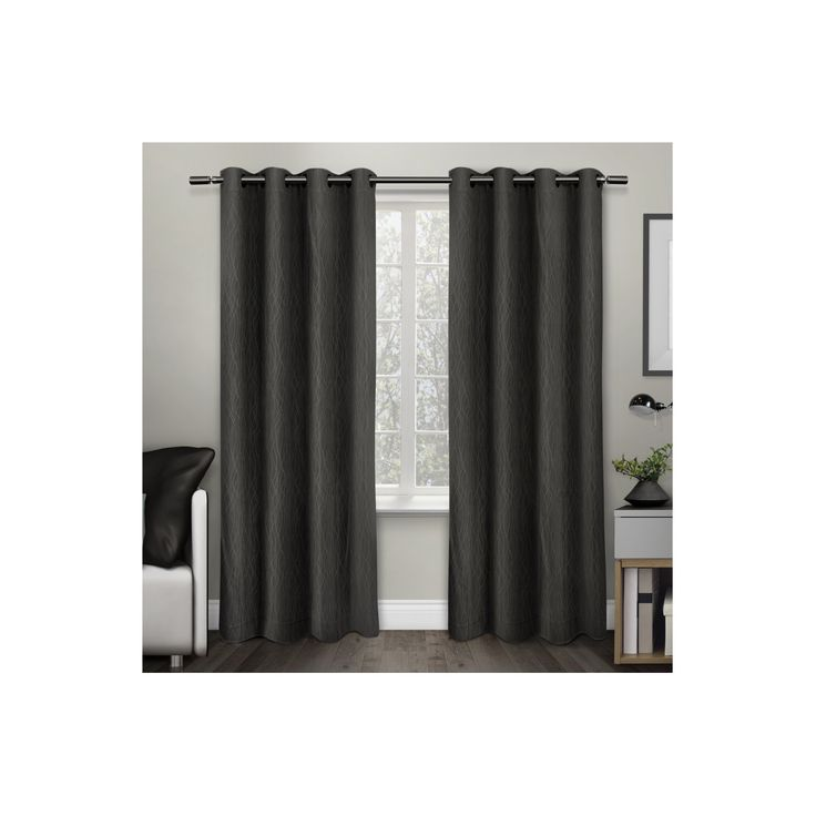 """Crete Textured Jacquard Thermal Window Curtain Grommet Top Panel Pair Charcoal (Grey) (54""""x96"""") - Exclusive Home"""