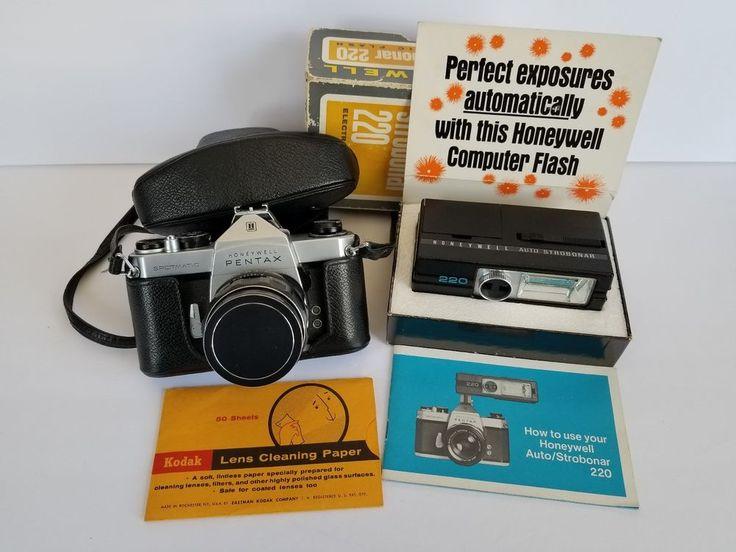 Honeywell Pentax Spotmatic Asahi Takumar Lens w Strobonar 220 Flash Case Cap #PENTAX
