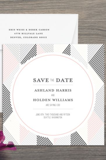 A geometric #savethedate is great for modern couples | Brides.com
