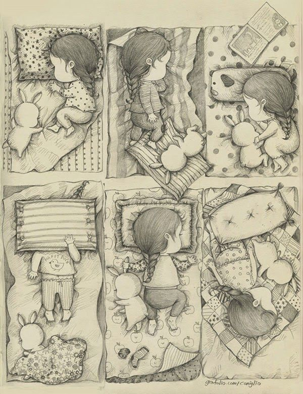 A Girl and Her Pet Rabbit: Drawings by Coniglio | Faith is Torment | Art and Design Blog
