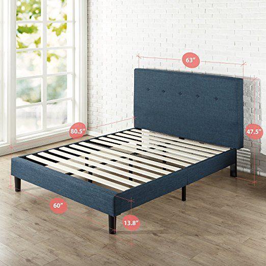 Amazon Com Zinus Upholstered Navy Button Detailed Platform Bed