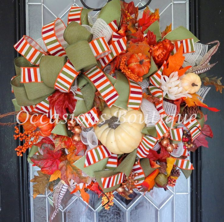 Burlap Fall Wreath, Fall Decoration, Door Hanger, Front door wreath, Wreath for…