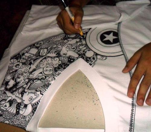 Capt. America inspired Doodle T-Shirt - on process by kerbyrosanes.deviantart.com on @deviantART