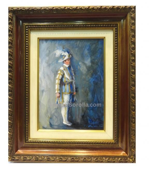 Jose Antonio Borrás : Blue Seises. Medium: Oil on wood Measurements (cm): 53x44 Canvas measurements (cm): 33x24 Interior frame: Yes. Beautiful impressionist painting of a dancing child of the Cathedral of Seville. Beatifully coloured with a bright palette.$300.54