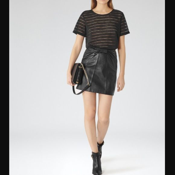 Reiss Pippin Knit Stripe Top in Black Perfect black staple for your wardrobe! Striped crew neck, short-sleeved, semi-sheer black top. Solid trim with rounded hems. Body: Polyester; Border 93% Polyester/7% Elastane. Imported. This is completely sold out. Bought @ Bloomingdales. Reiss Tops