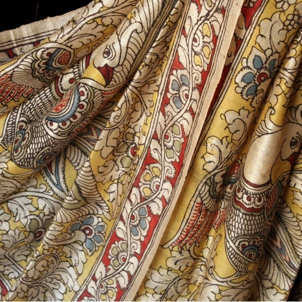Exquisite hand painted silk kalamkari