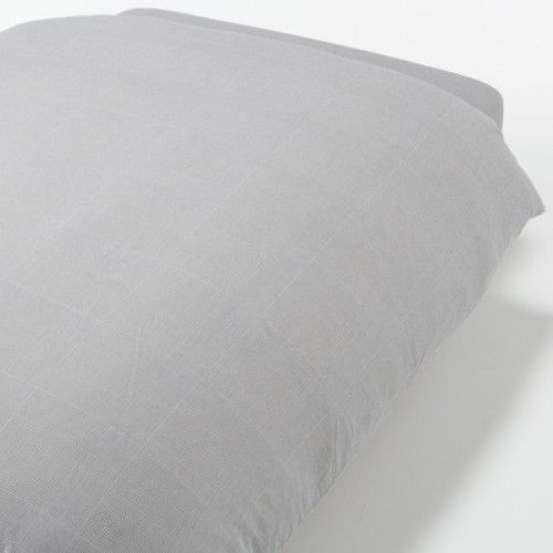 Washed Cotton Flannel Duvet Cover Q Gray Check
