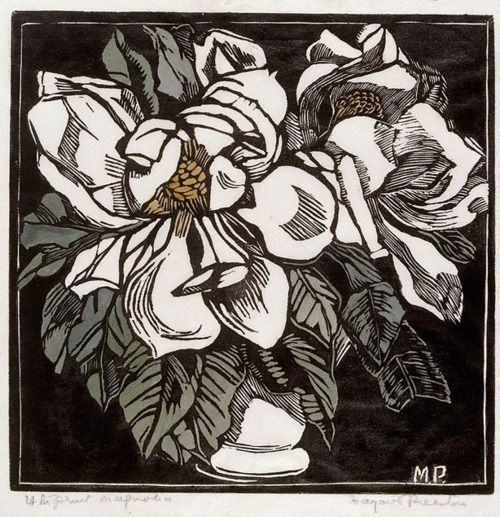 Margaret Preston (Australian, 1875-1963), Magnolia, 1932. Woodcut, printed in black ink, hand coloured with gouache and black ink, on thin white laid tissue.