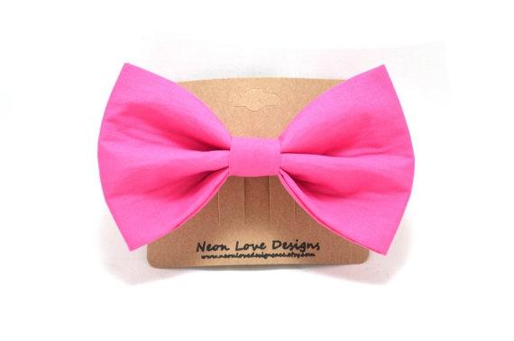 Dark Pink Hair Bow Barrette by NeonLoveDesignsAcc on Etsy, $7.75