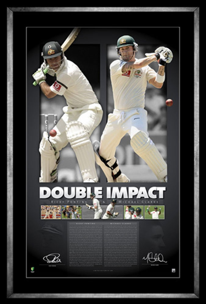 Fresh on the back of dual double centuries, a special memorabilia piece has been released being, Double Impact which celebrates two of Australia's cricketing greats; Ricky Ponting and Michael Clarke.  Limited to 200 units only Officially licensed by Cricket Australia Personally signed by Clarke and Ponting Accompanied by Certificate of Authenticity Authenticated by A-Tag