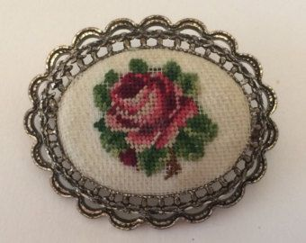 Vintage Petit Needlepoint Embroidered Brooch Pin Petit Point Roses
