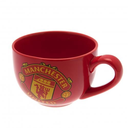 MANCHESTER UNITED Ceramic Cappucino Mug in club colours and featuring the club crest. Approx 9 cm tall and 12 cm in diameter. Official Licensed Manchester United mug. PRICE INCLUDES DELIVERY